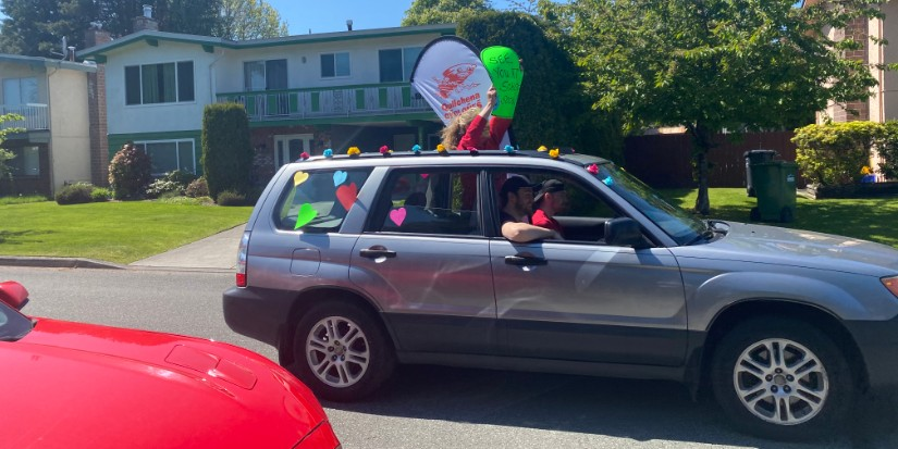'Car parade' connects Quilchena students, teachers