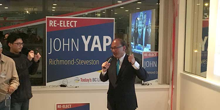 Yap re-elected in Richmond-Steveston