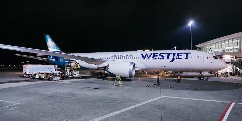 New WestJet plane takes off from airport
