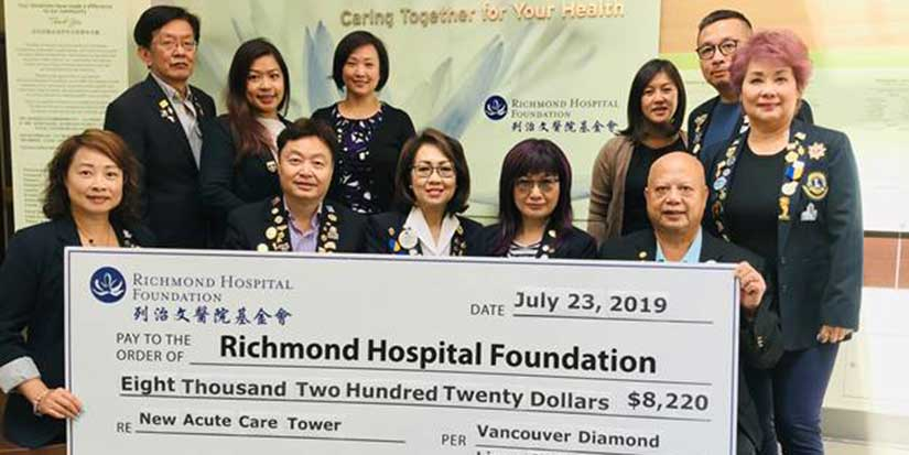 Diamond Lions give to Richmond Hospital
