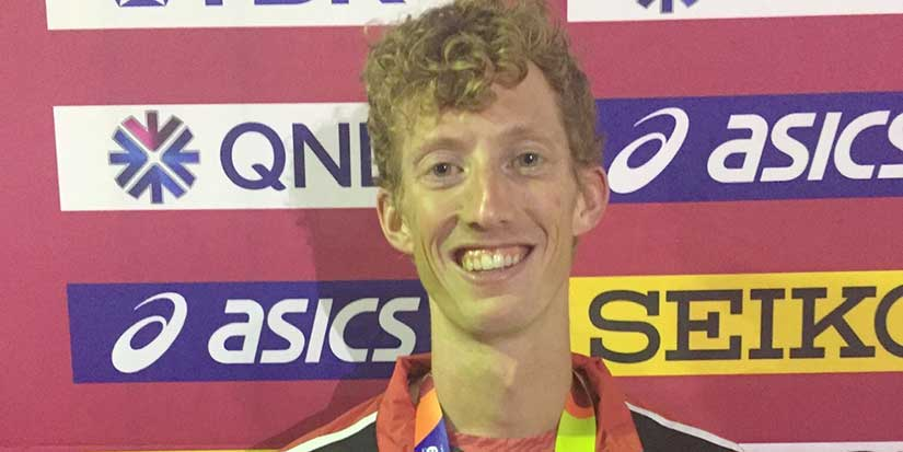 Race walker Dunfee reaches podium at worlds