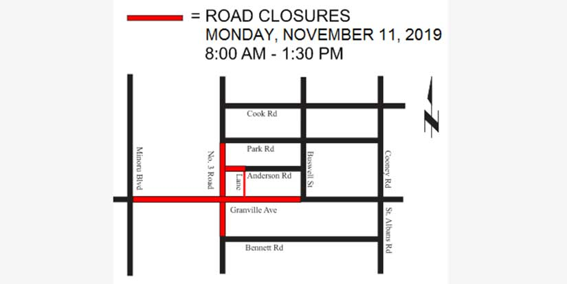 Richmond road closures for Remembrance Day ceremony