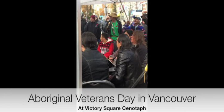 November 8 saw the thirteenth annual Aboriginal Veterans Day ceremonies at Victory Square's cenotaph. To the drummers' beat, with a traditional honour song as a recessional, dignitaries depart at the ceremonies' end.