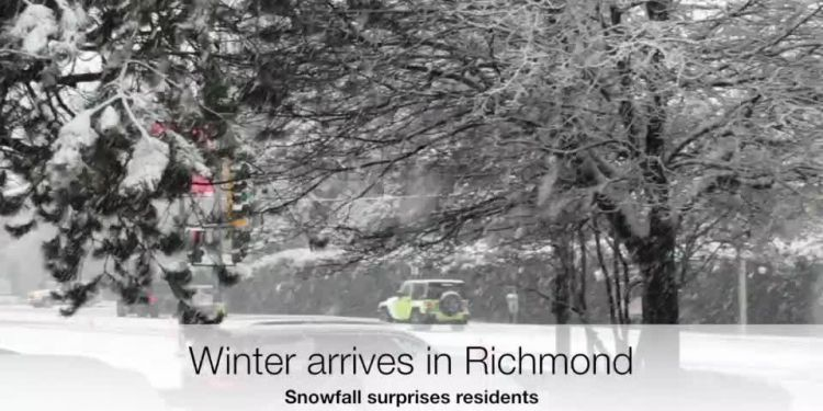 At least a few centimetres of snow fell on Richmond Tuesday, two days ahead of the Winter Solstice.